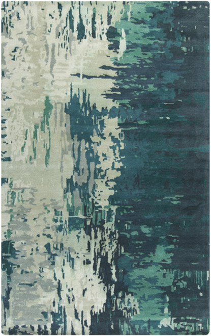 3.25' x 5.25' Ivory and Sage Green Abstract Transcendental Hand Tufted Wool Area Throw Rug - IMAGE 1