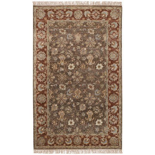 2' x 3' Cedar Brown and Brick Red Floral Hand Knotted Rectangular Area Throw Rug - IMAGE 1