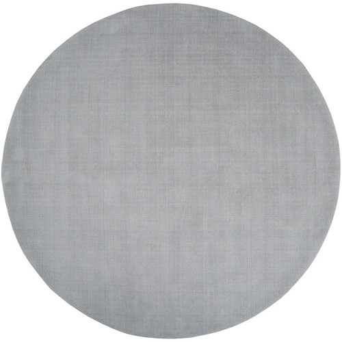9.75' Solid Charcoal Gray Hand Loomed Round Wool Area Throw Rug - IMAGE 1