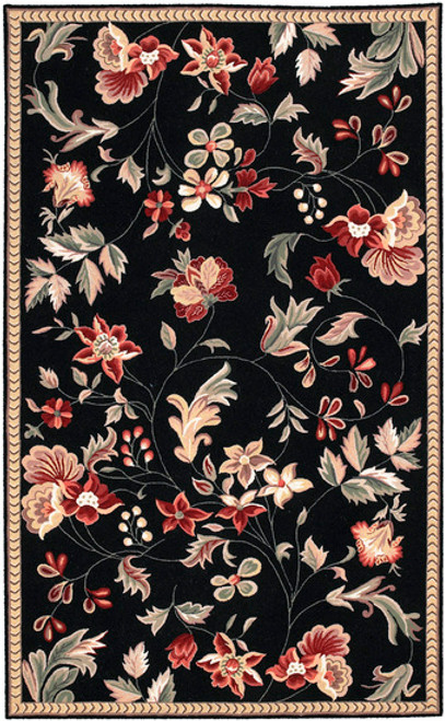 2.5' x 4' Raspberry Blossom and Racing Wool Area Hand Tufted Throw Rug - IMAGE 1