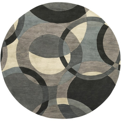 8' Senzei Spheres Gray and Black Hand Tufted Round Wool Area Throw Rug - IMAGE 1