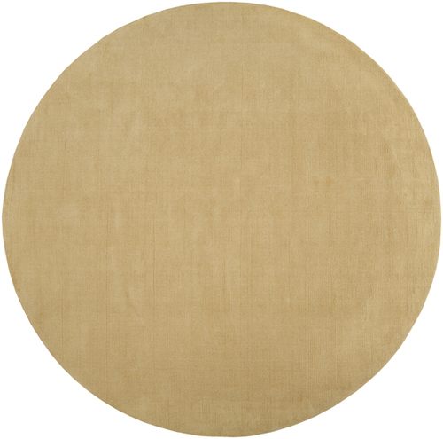 6' Solid Camel Brown Hand Loomed Round Wool Area Throw Rug - IMAGE 1
