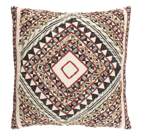"""20"""" Red and Brown Woven Contemporary Square Throw Pillow - Down Filler - IMAGE 1"""