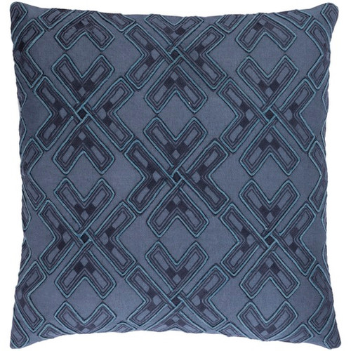 """18"""" Navy Blue and Dolphin Blue Square Throw Pillow - IMAGE 1"""