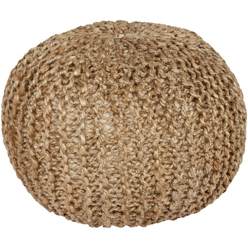 """20"""" x 14"""" Intricate Detail Tan Brown Hand Crafted Jute Round Pouf Ottoman - IMAGE 1"""