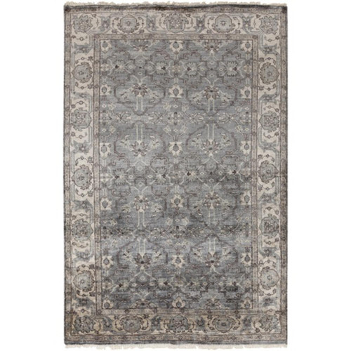 8' x 10' Byzantine Empress Light Gray and Brown Hand Knotted Rectangular Area Throw Rug - IMAGE 1
