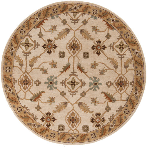 8' Tortilla Brown and Sage Green Hand Tufted Round Area Throw Rug - IMAGE 1