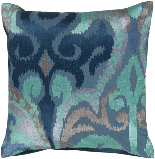 "22"" Stone Blue and Turquoise Blue Contemporary Decorative Throw Pillow - Down Filler - IMAGE 1"