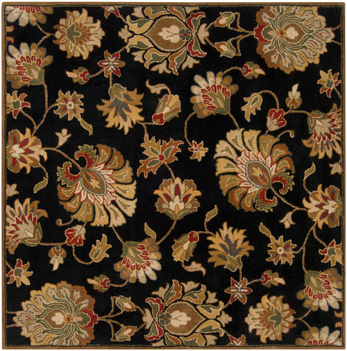 4' x 4' Black and Brown Contemporary Hand Tufted Floral Square Wool Area Throw Rug - IMAGE 1