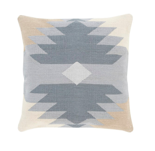 "20"" Gray and Brown Geometric Patterned Square Throw Pillow - Down Filler - IMAGE 1"