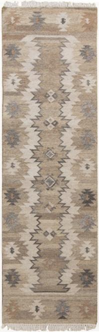 2.5' x 8' Brown and Gray Hand Woven Rectangular Wool Area Throw Rug Runner - IMAGE 1