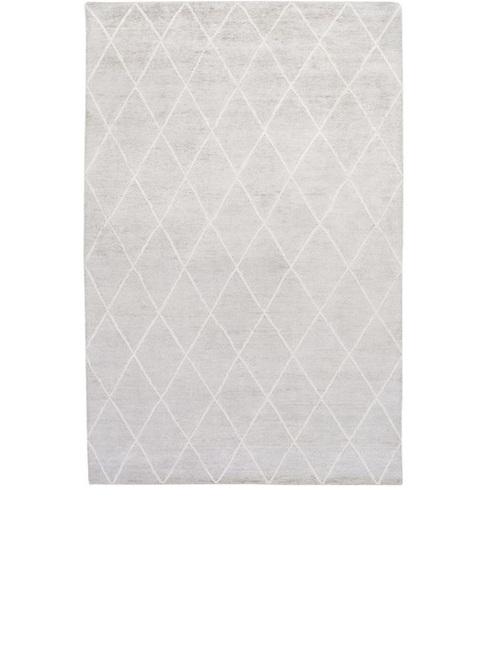 9' x 13' Jolted Divide Dolphin Overcast Gray and Latte White Hand Knotted Area Throw Rug - IMAGE 1