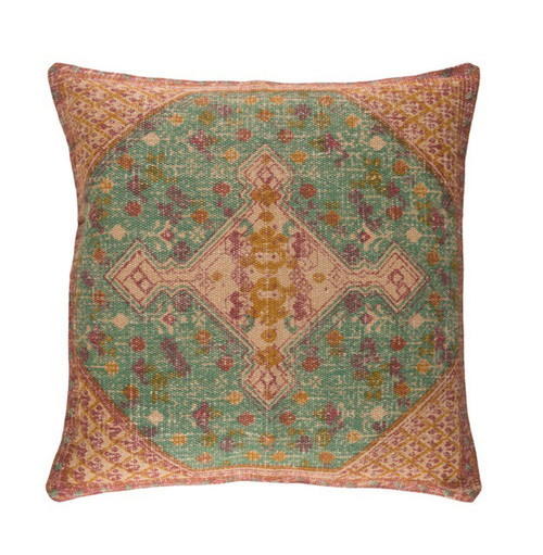 """18"""" Brown and Green Contemporary Square Throw Pillow - IMAGE 1"""