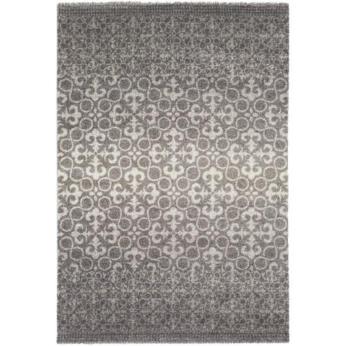 4' x 5.5' Iris Excursions Charcoal Gray and Light Gray Area Throw Rug - IMAGE 1