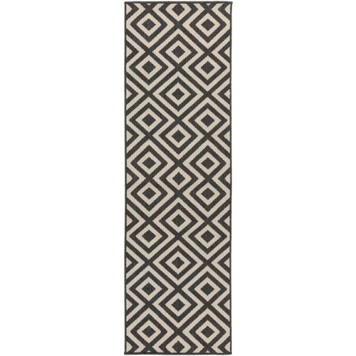 2.25' x 11.75' Black and White Machine Woven Geometric Rectangular Outdoor Area Throw Rug Runner - IMAGE 1