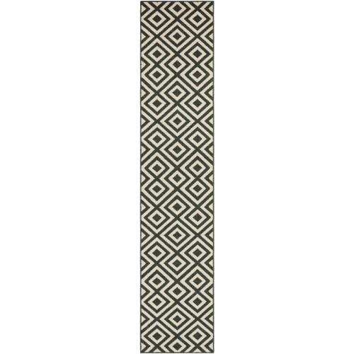 2.25' x 11.75' Black and White Machine Woven Geometric Rectangular Outdoor Area Throw Rug Runner - IMAGE 1