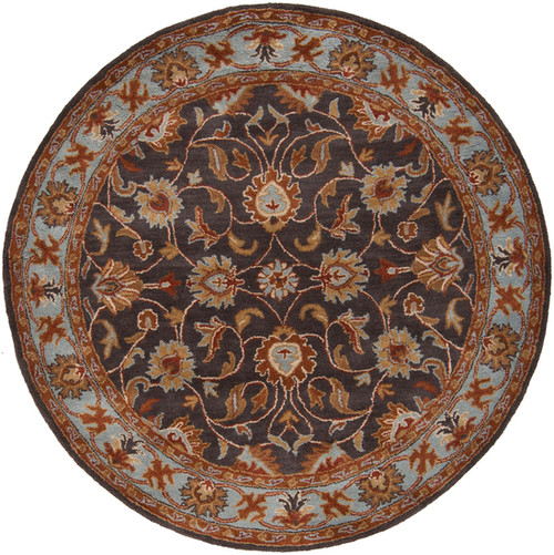 6' Floral Gray and Brown Hand Tufted Round Wool Area Throw Rug - IMAGE 1