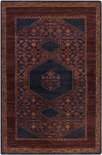 5.5' x 8.5' Burgundy Red and Blue Hand Knotted Rectangular Wool Area Throw Rug - IMAGE 1