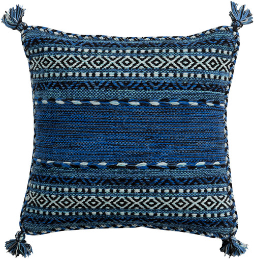"""20"""" Black and Marine Blue Southwestern Style Woven Square Throw Pillow - Poly Filled - IMAGE 1"""