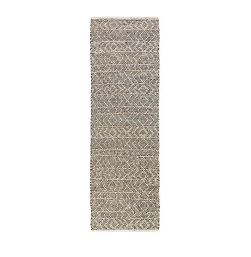 2.5' x 8' Contemporary Black and Pastel Gray Hand Woven Area Throw Rug Runner - IMAGE 1