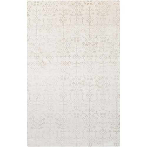 2' x 3' Floral White and Gray Hand Loomed Rectangular Area Throw Rug - IMAGE 1