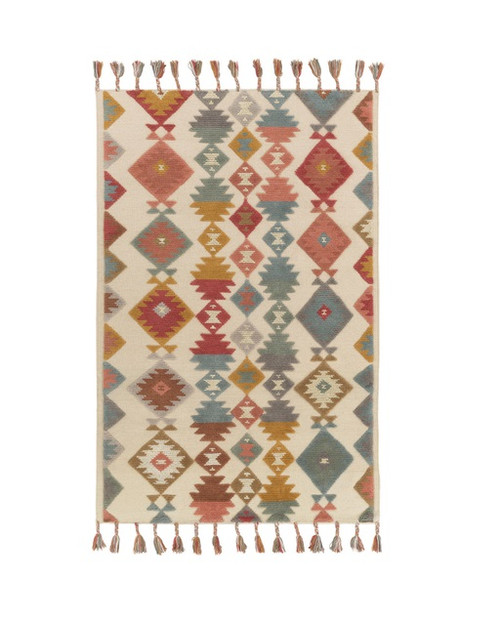 9' x 13' Iroquois Creations Aqua Blue and Wheat Brown Wool Hand Woven Area Throw Rug - IMAGE 1