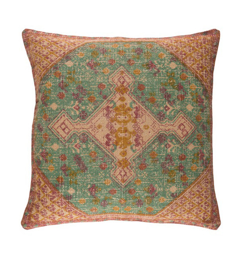 """18"""" Brown and Green Contemporary Square Throw Pillow - Down Filler - IMAGE 1"""