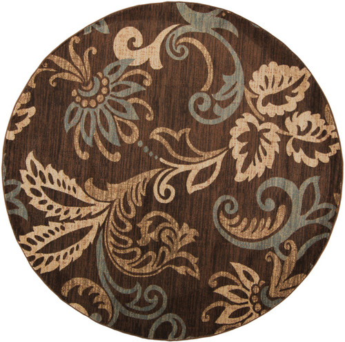 8' Paisley Brown and Blue Shed-Free Round Area Throw Rug - IMAGE 1