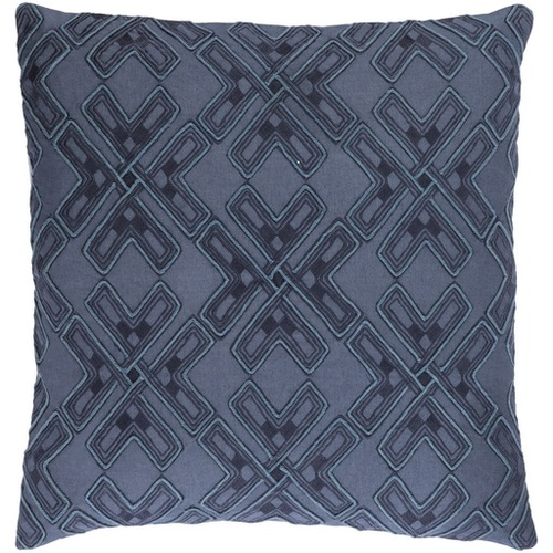 """18"""" Navy Blue and Dolphin Blue Square Throw Pillow - Down Filler - IMAGE 1"""