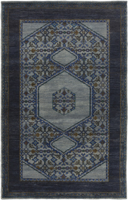 8' x 11' Modest Enlightenment Volcanic Black and Clay Gray Hand Knotted Wool Area Rug - IMAGE 1