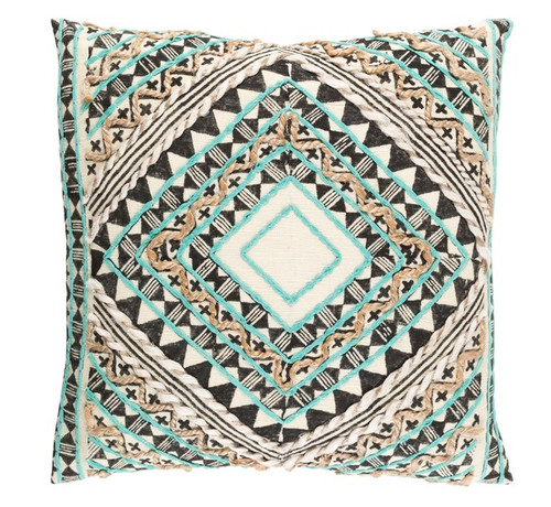 """20"""" Green and Black Diamond Hand Embroidered Throw Pillow - Down Filler - IMAGE 1"""