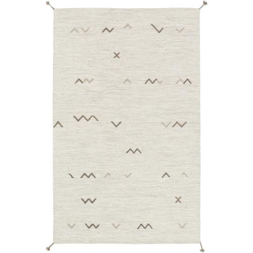 9' x 13' Smoky Gray and White Rectangular Area Throw Rug - IMAGE 1