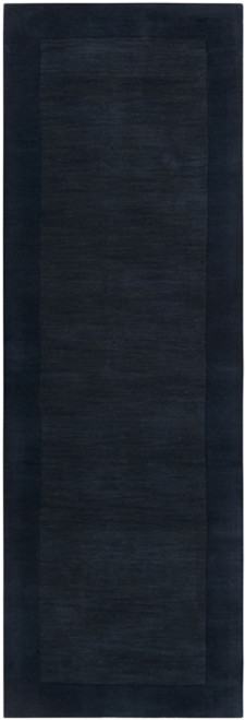 2.5' x 8' Solid Navy Blue Hand Loomed Rectangular Wool Area Throw Rug Runner - IMAGE 1