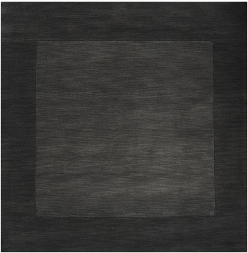 9.75' x 9.75 Jet Black and Anchor Gray Hand Loomed Square Area Throw Rug - IMAGE 1