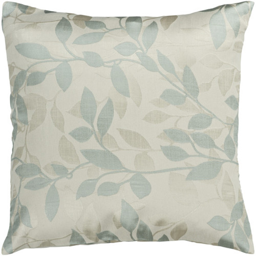 "18"" Blue and Ivory Contemporary Leaf Square Throw Pillow - Down Filler - IMAGE 1"