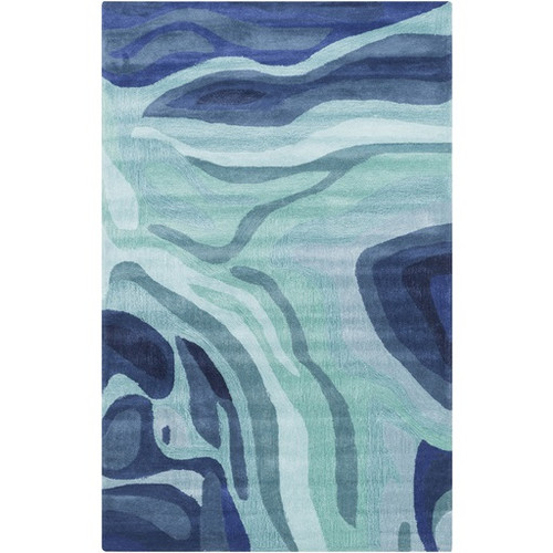 3.25' x 5.25' Contemporary Navy Blue and Gray Hand Tufted Rectangle Area Throw Rug - IMAGE 1