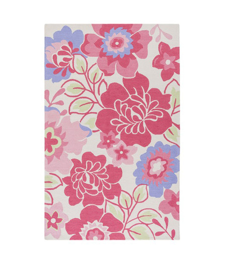 3' x 5' Flower Silhouettes Pink and Green Hand Hooked Rectangular Area Throw Rug - IMAGE 1