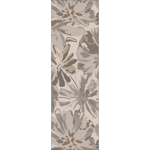 3' x 12' Brown and Gray Hand Tufted Contemporary Wool Area Throw Rug Runner - IMAGE 1