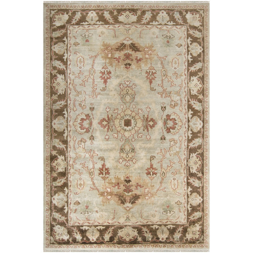 5.5' x 8.5' Floral Green and Brown Hand Tufted New Zealand Wool Area Throw Rug - IMAGE 1