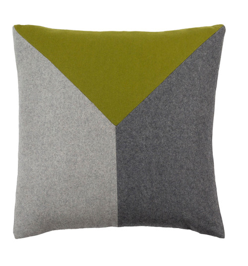 """20"""" Asparagus Green and Pewter Gray Geometric Square Throw Pillow - Down Filler - IMAGE 1"""