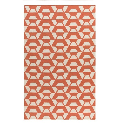 2.5' x 8' Shadowy Gems Orange and White Hand Woven Rectangular Area Throw Rug Runner - IMAGE 1