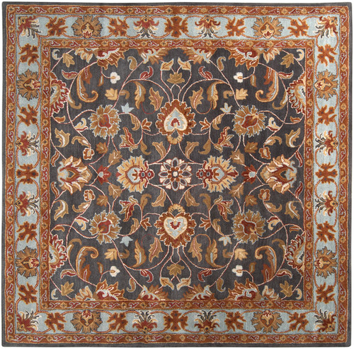 6' x 6' Floral Gray and Brown Hand Tufted Square Wool Area Throw Rug - IMAGE 1