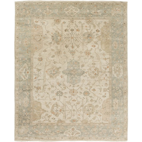 8' x 10' Memory Lane Ivory and Beige Hand Knotted Wool Area Throw Rug - IMAGE 1