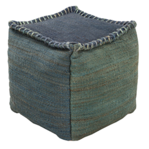 """18"""" Slate Blue and Forest Green Stitched Top Jute Square Pouf Ottoman - IMAGE 1"""