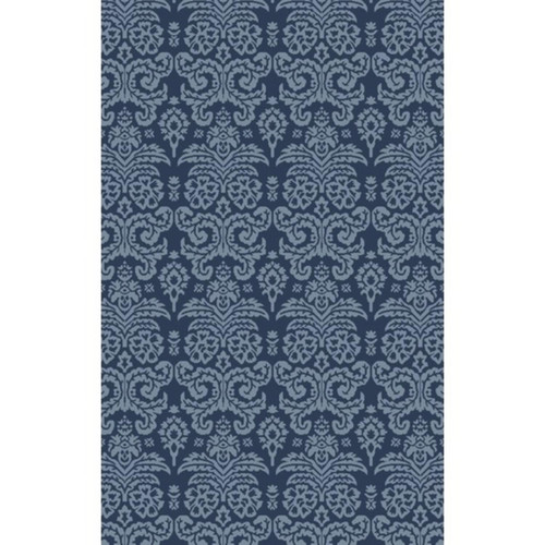 9' x 13' Filigree Fantasies Slate Gray and Midnight Blue Hand Tufted Area Throw Rug - IMAGE 1