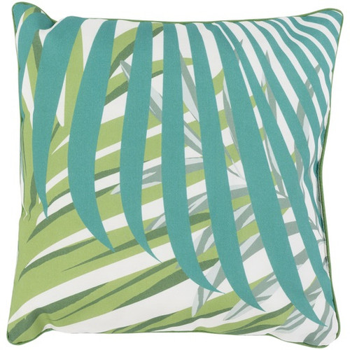 "20"" Emerald Green, Kiwi Green and Ivory White Decorative Throw Pillow - IMAGE 1"