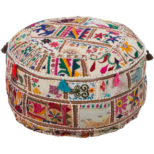 "12"" Multi Colored Recycled Patch Work Cotton Round Pouf Ottoman - IMAGE 1"