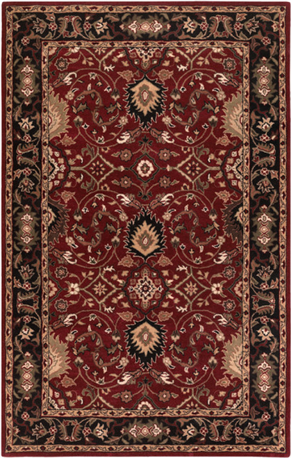 6' x 9' Burgundy Red and Black Hand Tufted Wool Area Throw Rug - IMAGE 1