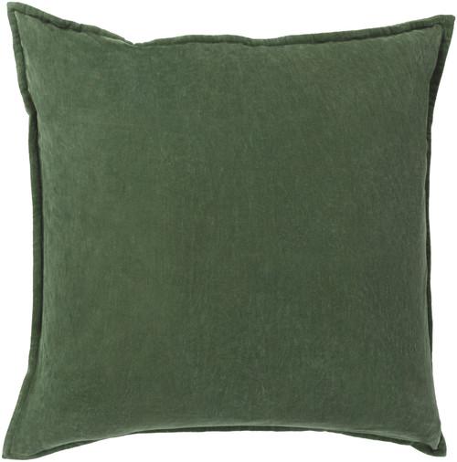 "20"" Calma Semplicita Emerald Green Decorative Square Throw Pillow - IMAGE 1"