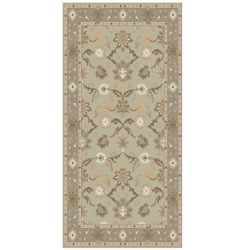 6' x 9' Licinius Green, Gray, and Ivory Hand-Tufted Wool Area Throw Rug - IMAGE 1